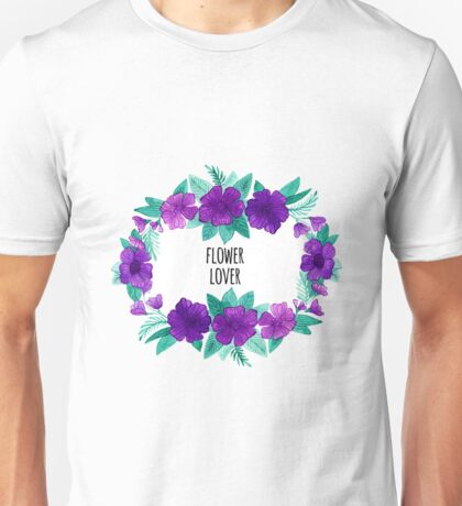 Watercolor wreath of purple flowers and leaves Unisex T-Shirt