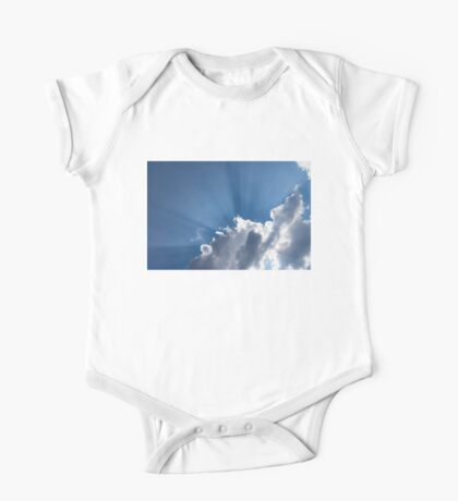 God Rays - Soft Clouds and Radiating  Sunbeams One Piece - Short Sleeve