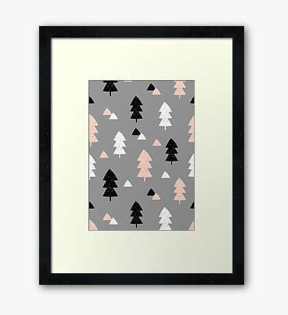 Winter Forest in Pink, Black, White and Gray Framed Print