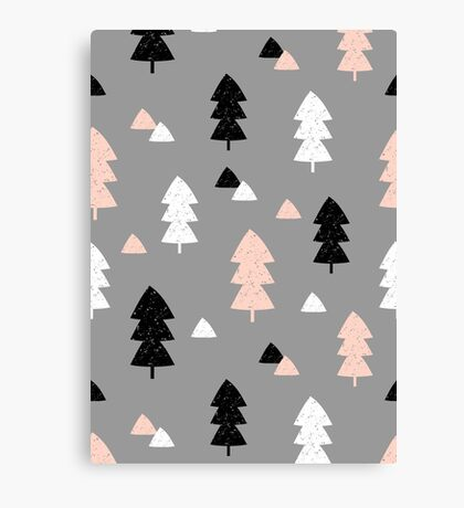 Winter Forest in Pink, Black, White and Gray Canvas Print