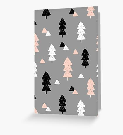 Winter Forest in Pink, Black, White and Gray Greeting Card