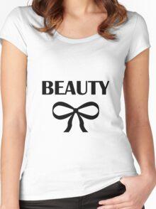 BEAUTY| HEIDI | BLACK Women's Fitted Scoop T-Shirt