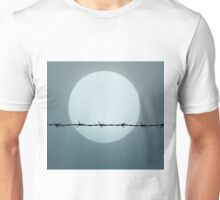 Barbed wire on a background of fog and sun Unisex T-Shirt