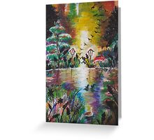 Beautiful Sunset Ducks Oil Pastel Greeting Card