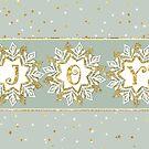 Christmas Card - JOY and Snowflakes by Natalie Kinnear