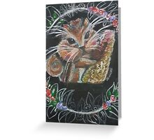 Super Cute Oil Pastel Squirrel Greeting Card