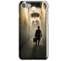 Victorian man with top hat carrying a suitcase in the alley iPhone Case/Skin
