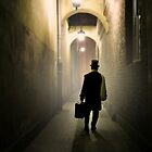 Victorian man with top hat carrying a suitcase in the alley by JBlaminsky