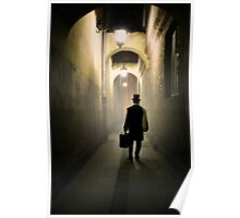 Victorian man with top hat carrying a suitcase in the alley Poster