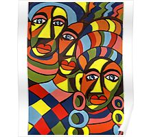 African Traditional Tribal Women Abstract Art Canvas Painting for Women, Girls, Ladies, Kids 5 Poster