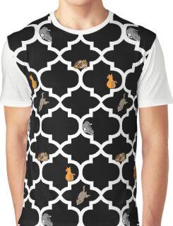 Cats On A Lattice - Black Graphic T-Shirt