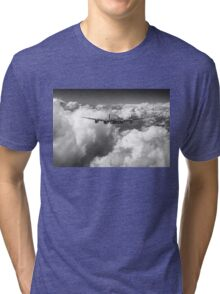 Avro Lancaster above clouds B&W version Tri-blend T-Shirt
