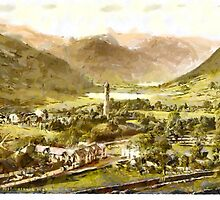 A digital painting of Glendalough. County Wicklow, Ireland in the 19th century. by Dennis Melling
