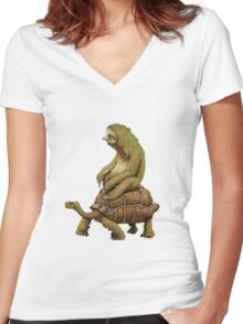 Funny Turtle,Fast,Animal,Lucky Turtle,Ninja,Speed Women's Fitted V-Neck T-Shirt