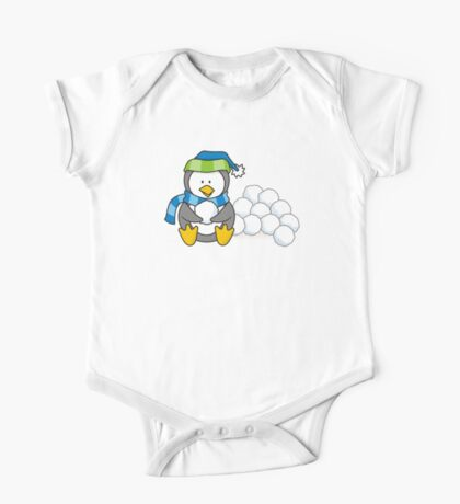 Little penguin sitting with snow balls One Piece - Short Sleeve
