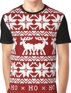 CHRISTMAS DEER KNITTED SWEATER PATTERN Graphic T-Shirt
