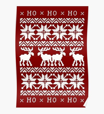 CHRISTMAS DEER KNITTED SWEATER PATTERN Poster