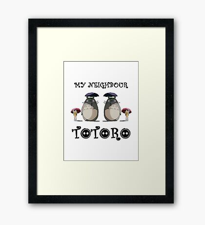 Totoro, Satsuki and Mei - symmetry Framed Print