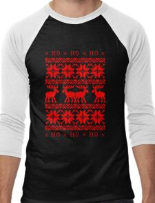 CHRISTMAS DEER SWEATER KNITTED PATTERN Men's Baseball ¾ T-Shirt