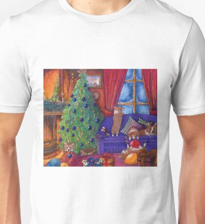 Corgi dogs excited on Christmas eve, watching for Santa Unisex T-Shirt