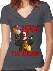 Pennywise the Clown - IT by Stephen King Women's Fitted V-Neck T-Shirt