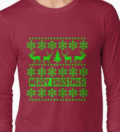 MERRY CHRISTMAS DEER SWEATER KNITTED PATTERN Long Sleeve T-Shirt