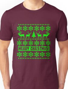 MERRY CHRISTMAS DEER SWEATER KNITTED PATTERN Unisex T-Shirt