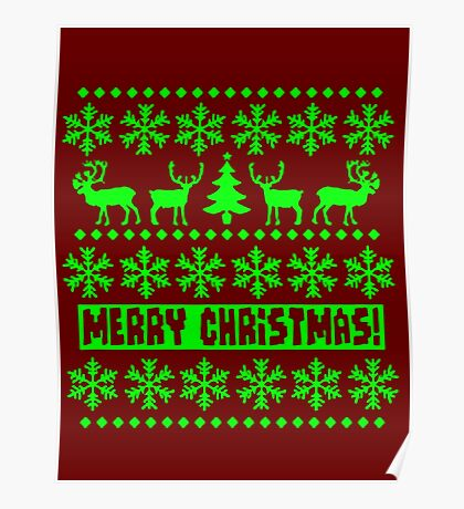 MERRY CHRISTMAS DEER SWEATER KNITTED PATTERN Poster