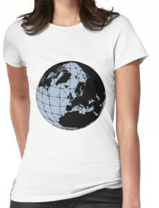World Web (blue) Womens Fitted T-Shirt