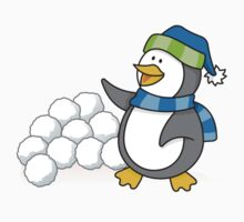 Little penguin with snow balls waving Kids Tee