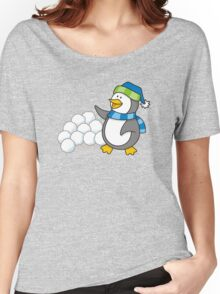 Little penguin with snow balls waving Women's Relaxed Fit T-Shirt