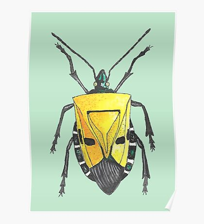 Yellow insect drawing Poster