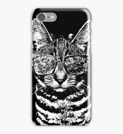 Cat with swag BW iPhone Case/Skin