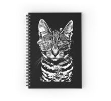 Cat with swag BW Spiral Notebook