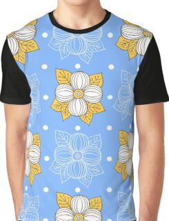 Big Flowers On Blue Graphic T-Shirt