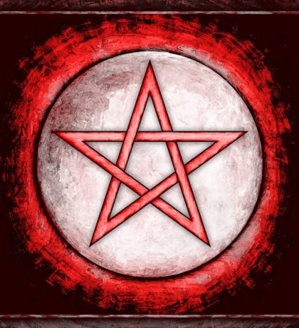 Mondpentagramm - Artwork I Rot Sticker