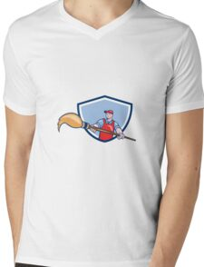 Artist Painter Giant Paintbrush Crest Cartoon Mens V-Neck T-Shirt