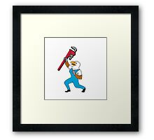 Plumber Eagle Standing Pipe Wrench Cartoon Framed Print