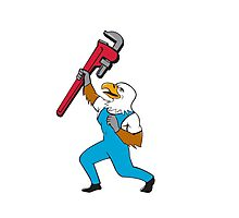 Plumber Eagle Standing Pipe Wrench Cartoon Photographic Print