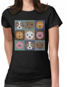 Animal Face Pattern Womens Fitted T-Shirt