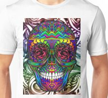 Rainbow Color Candy Skull with Abstract Colorful Background Unisex T-Shirt