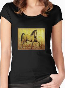 """The Golden Horse"" Women's Fitted Scoop T-Shirt"