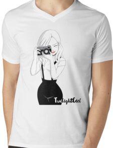 Camera Girl Mens V-Neck T-Shirt