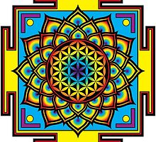 Flower of Life Psychedelic Mandala by GalacticMantra