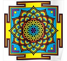 Flower of Life Psychedelic Mandala Poster