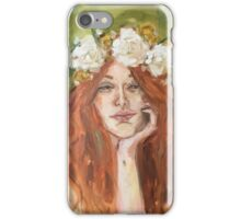 Red Head With Flower Crown iPhone Case/Skin