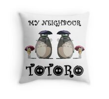 Totoro, Satsuki and Mei - symmetry Throw Pillow