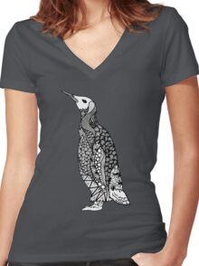 Zentangle Penguin Women's Fitted V-Neck T-Shirt