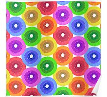 Funny colorful abstract flower pattern in rainbow colors Poster