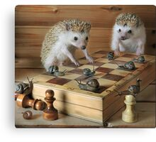 Hedgehogs - the chess players Canvas Print